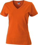 Damen Slim Fit V-Neck T-Shirt